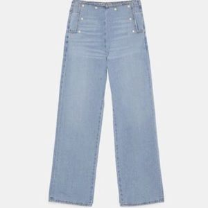NWT Zara Z1975 Pearl Bead Trimmed Trousers